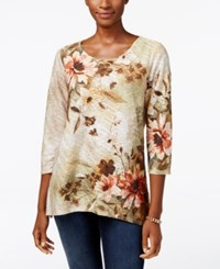 Alfred Dunner Cactus Ranch Collection Embellished Jacquard Top Multi