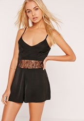 Missguided Silky Lace Waist Detail Playsuit Black