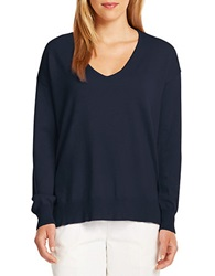 424 Fifth Merino Wool V Neck Pullover Evening Blue