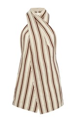 Rosie Assoulin Wrap Neck Halter Top Stripe