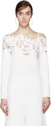 Sacai White Lace Off The Shoulder Lily Sweater