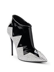 Giuseppe Zanotti Zig Zag Crystal And Patent Leather Point Toe Booties Black Silver