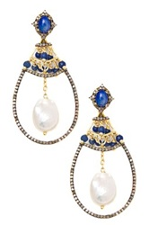 Lori Kassin Blue Opal Barogue Pearl And Champagne Diamond Loop Earrings