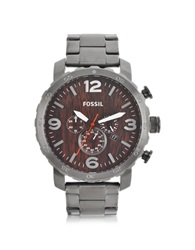 Fossil Nate Smoke Stainless Steel Chronograph Watch Dark Gray