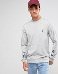 Jack And Jones Crew Neck Sweat With Sleeve Print Placement Grey