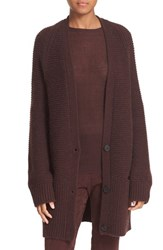 Vince Women's Wool And Cashmere Long V Neck Cardigan Raisin