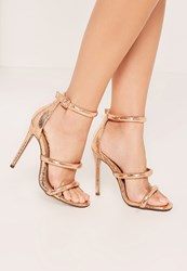 Missguided Rose Gold Rounded Three Strap Barely There Sandals Pink