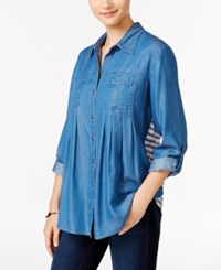 Styleandco. Style Co. Striped Denim Shirt Only At Macy's Sailor Stripe