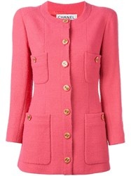 Chanel Vintage Collarless Jacket Pink And Purple