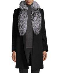 Fleurette Belted Fur Trim Wrap Coat Black