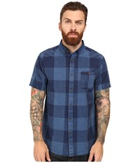 Vissla Black Light Short Sleeve Plaid Woven Indigo Men's Clothing Blue