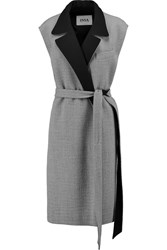 Issa Rob Belted Wool Blend Gilet Gray
