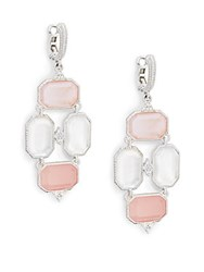 Judith Ripka Vogue Pink Mother Of Pearl Rock Crystal Doublet Mother Of Pearl Diamond And Sterling Silver Chandelier Earrings Silver Pink