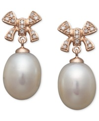 Effy Collection Pearl Earrings 14K Rose Gold Cultured Freshwater Pearl And Diamond 1 8 Ct. T.W. Bow Earrings