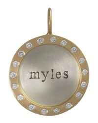 Silver And 14K Gold Single Lowercase Name Charm With Diamonds Heather Moore Silver Gold