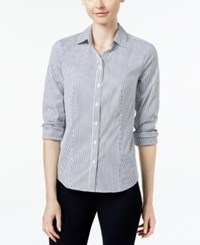 Charter Club Petite Striped Shirt Only At Macy's Deepest Navy Combo
