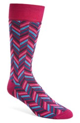 Bugatchi Men's Herringbone Socks Fuchsia Teal