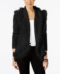 Alfani Petite Faux Fur Trim Cardigan Only At Macy's Deep Black