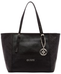 Guess Delaney Small Classic Tote Black Logo Embossed