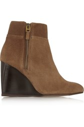 Lanvin Suede Wedge Ankle Boots Light Brown