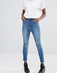Liquor And Poker Slogan Embroidery Cropped High Rise Skinny Jeans Light Wash Blue