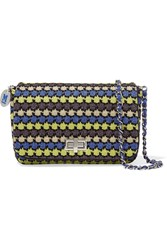 M Missoni Leather Trimmed Metallic Crochet Knit Shoulder Bag Blue