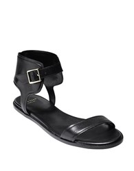 Cole Haan Ankle Wrap Leather Sandals Black