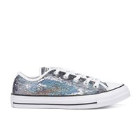 Converse Women's Chuck Taylor All Star Holiday Party Ox Trainers Gunmetal White Black Blue