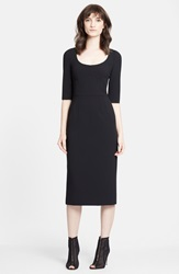 Dolcegabbana Stretch Wool Pencil Dress Black