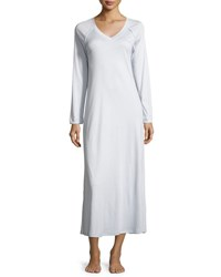 Hanro Pure Essence Long Sleeve Gown Blue Glow Off White