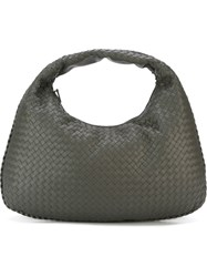 Outsource Images Woven Leather Tote Grey