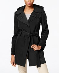 London Fog Hooded Water Resistant Trench Coat Black