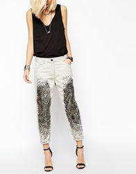 Religion Skinny Boyfriend Jeans With All Over Sequin Detail Grey