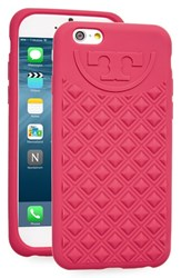 Tory Burch 'Marion' Quilted Silicone Iphone 6 And 6S Case Pink Dark Peony