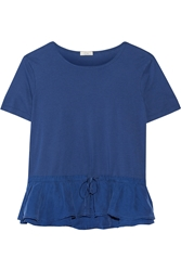Clu Ruffled Washed Silk And Jersey Top