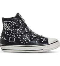 Ash Vegas Studded Leather High Top Trainers Black Nappa Wax