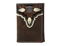 Ariat Shield Ivory Trifold Wallet Medium Brown Distressed Ivory Wallet