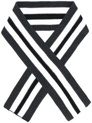 Neil Barrett Striped Scarf Black