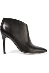 Halston Karen Leather Ankle Boots Black