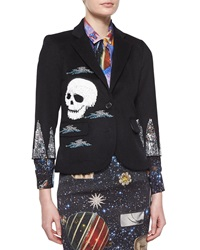 Libertine Collage Fringe Double Button Blazer Black