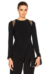 Roland Mouret Ebner Stretch Crepe And Layered Lace Top In Black