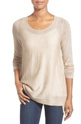 Petite Women's Eileen Fisher Scoop Neck Sweater Maple Oat