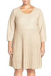 Calvin Klein Scoop Neck Fit And Flare Sweater Dress Plus Size Beige