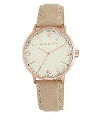 Vince Camuto Vc5306rgtn Rosetone And Leather Watch Tan