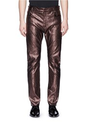 Haider Ackermann Glitter Leather Pants Metallic