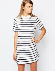 Fred Perry Striped Polo Dress White
