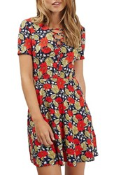 Topshop Women's Poppy Print Lace Up Minidress