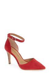Lucky Brand Women's 'Tukko' D'orsay Ankle Strap Pump Chili Pepper Suede