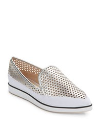 French Connection Nikki Perforated Slip Ons Silver