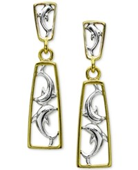 Macy's Two Tone Dolphin Drop Earrings In 18K Gold Plated Sterling Silver